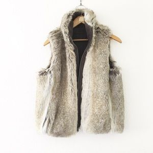 Jackets & Blazers - Reversible Faux Fur & Micro Suede Collared Vest